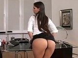 Perfect Ass Brunette Stripping In The Office